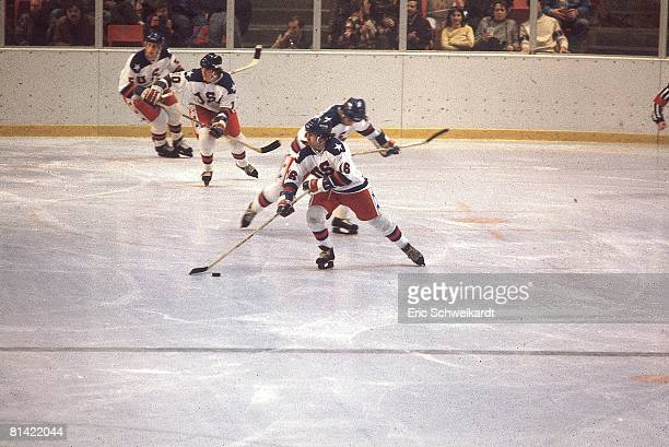 Hockey 1980 Winter Olympics USA Mark Pavelich in action during game Lake Placid NY 2/14/19802/22/1980