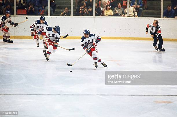 Hockey 1980 Winter Olympics USA Mark Pavelich in action during game Lake Placid NY 2/13/19802/24/1980