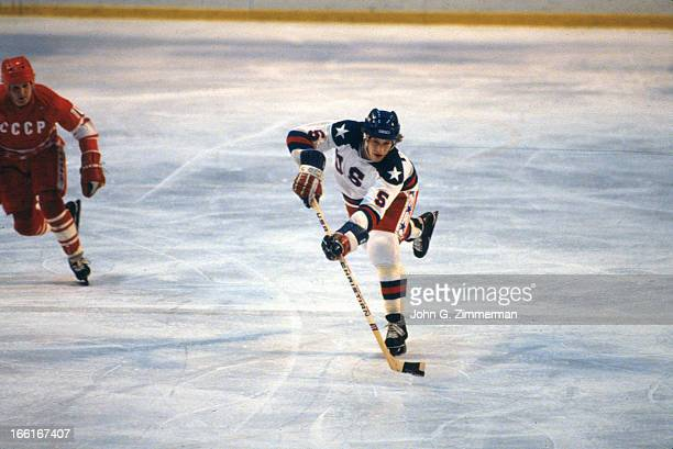 Winter Olympics: USA Mike Ramsey in action vs Soviet Union during Medal Round game at Olympic Fieldhouse in the Olympic Center. Lake Placid, NY...