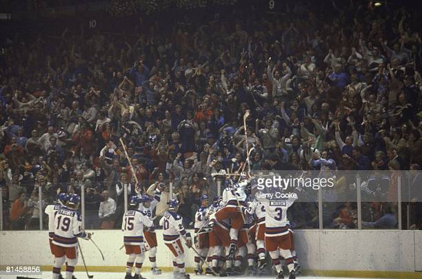 Hockey: 1980 Winter Olympics, USA victorious after winning game vs USSR, Lake Placid, NY 2/22/1980