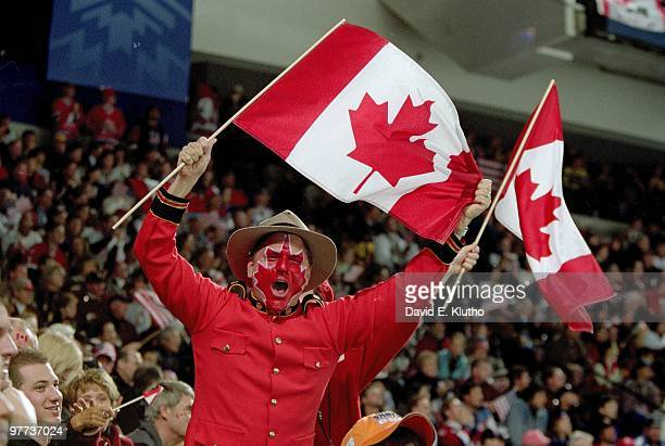 2002 Winter Olympics View of Canada fan during game vs USA during Men's Gold Medal Game at E Center West Valley City UT 2/24/2002 CREDIT David E...
