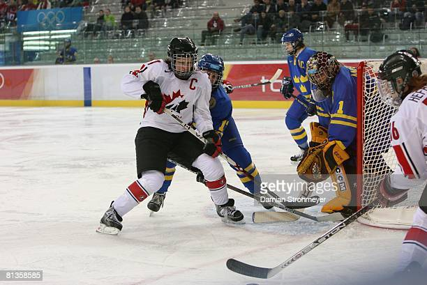 Hockey 2006 Winter Olympics Canada Cassie Campbell in action vs Sweden during Women's Preliminary Round Group A game at Palasport Olimpico Turin...