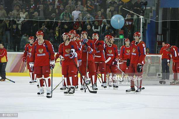 Hockey 2006 Winter Olympics Russia Alexei Kovalev and Evgeni Malkin upset with team after losing Bronze Medal Game vs Czech Republic at Palasport...
