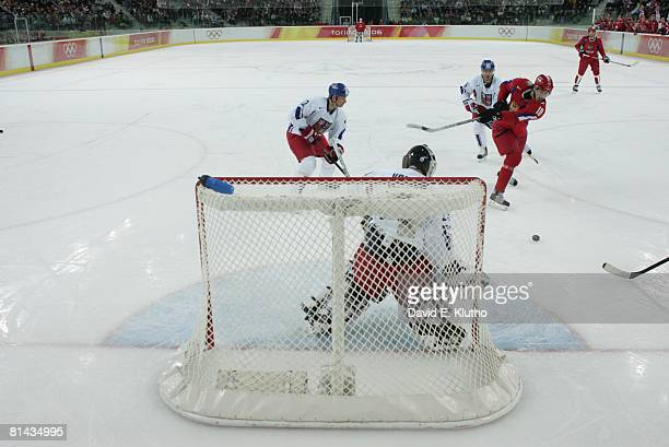 Hockey 2006 Winter Olympics Russia Evgeni Malkin in action taking shot vs Czech Republic during Bronze Medal Game at Palasport Olimpico Turin Italy...