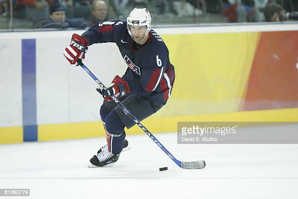 Hockey 2006 Winter Olympics USA Bret Hedican in action vs Russia during Preliminary Round Group B game at Palasport Olimpico Turin Italy 2/21/2006