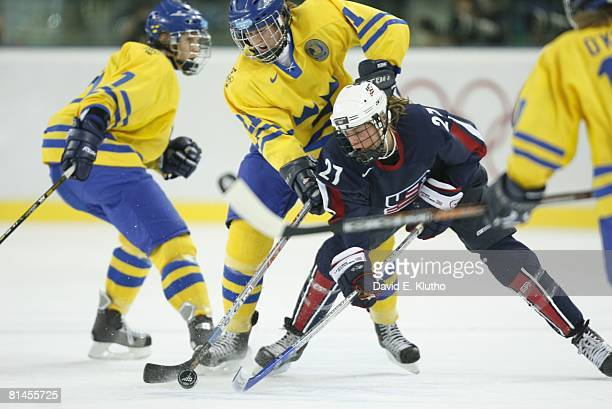 Hockey 2006 Winter Olympics USA Sarah Parsons in action vs Sweden Joa Elfberg during Women's Semifinals at Palasport Olimpico Turin Italy 2/17/2006