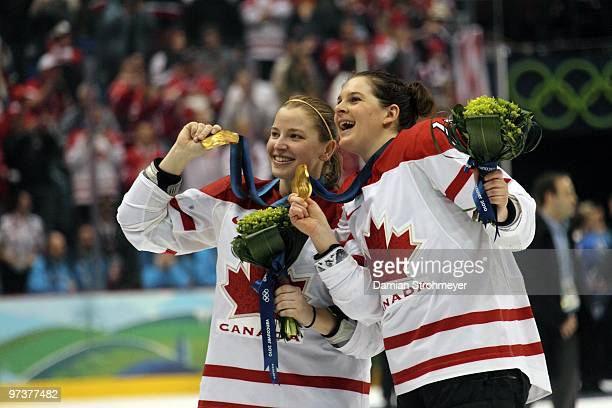 2010 Winter Olympics Canada Cherie Piper and Jennifer Botterill victorious with gold medals after winning Women's Gold Medal Game Game 20 vs USA at...