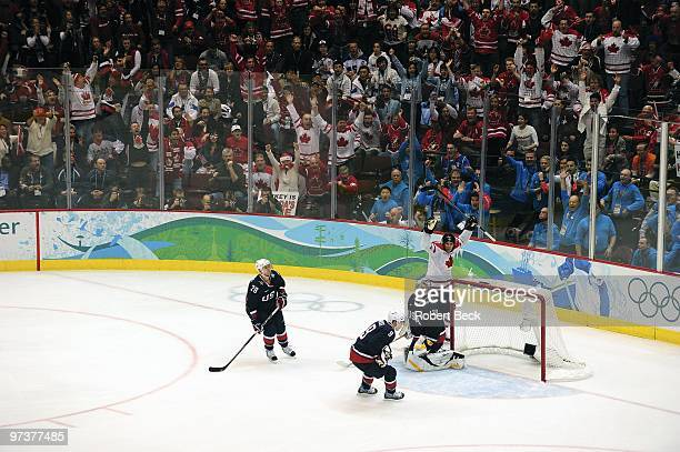2010 Winter Olympics Canada Sidney Crosby victorious celebration after scoring game winning overtime goal vs USA during Men's Gold Medal Game Game 30...