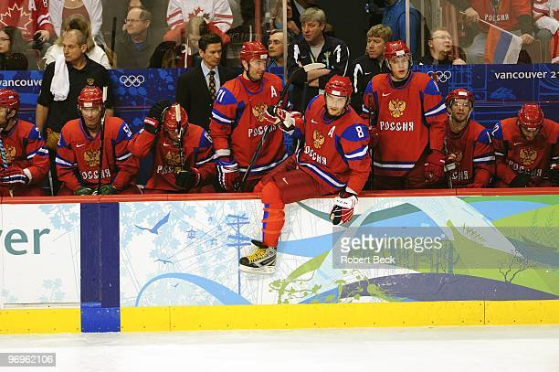 2010 Winter Olympics Russia Alex Ovechkin Ilya Kovalchuk and Evgeni Malkin in action line change vs Czech Republic during Men's Preliminary Round...