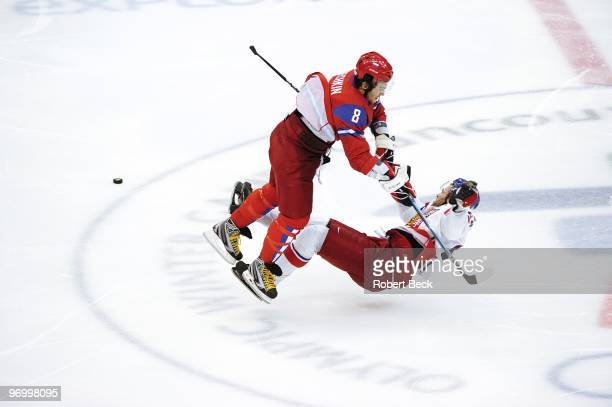 2010 Winter Olympics Russia Alex Ovechkin in action making check vs Czech Republic Jaromir Jagr during Men's Preliminary Round Group B Game 16 at...