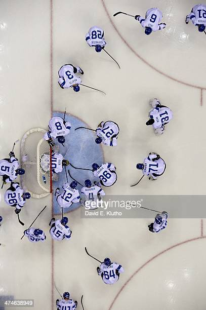 Winter Olympics: Aerial view of Team Finland players in huddle before Men's Bronze Medal Game vs USA at Bolshoy Ice Dome. Sochi, Russia 2/22/2014...