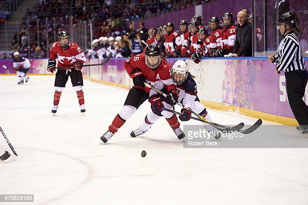 2014 Winter Olympics Canada Jayna Hefford in action vs USA during Women's Gold Medal Game at Bolshoy Ice Dome Canada wins gold Sochi Russia 2/20/2014...