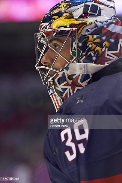 2014 Winter Olympics Closeup of USA goalie Ryan Miller during game vs Russia during Men's Preliminary Round Group A at Bolshoy Ice Dome Sochi Russia...
