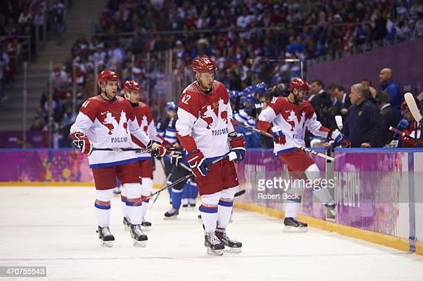 2014 Winter Olympics Russia Artyom Anisimov Nikolai Kulyomin and Fyodor Tyutin upset after Finland scores goal during Men's Playoffs Quarterfinals at...