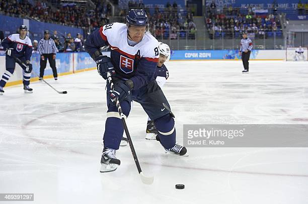 2014 Winter Olympics Slovakia Marian Hossa in action vs USA during Men's Preliminary Round Group A game at Shayba Arena Sochi Russia 2/13/2014 CREDIT...