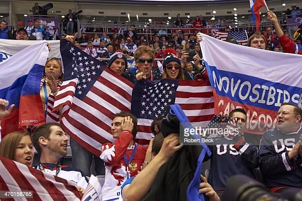 2014 Winter Olympics USA fans in stands during game vs Russia during Men's Preliminary Round Group A at Bolshoy Ice Dome Sochi Russia 2/15/2014...