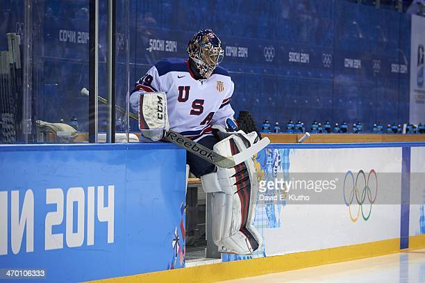 2014 Winter Olympics USA goalie Ryan Miller entering ice before game vs Slovenia during Men's Preliminary Round Group A at Shayba Arena Sochi Russia...