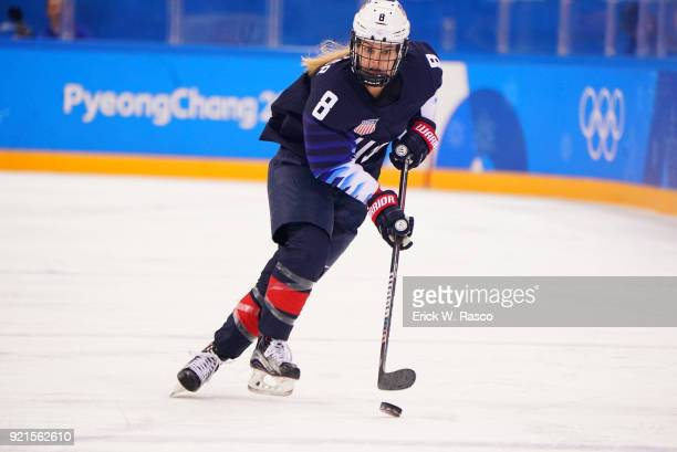 2018 Winter Olympics USA Emily Pfalzer in action vs Finland during Women's Playoffs Semifinals at Gangneung Hockey Centre Gangneung South Korea...