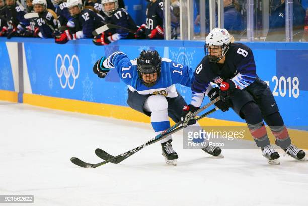 2018 Winter Olympics USA Emily Pfalzer in action vs Finland Minnamari Tuominen during Women's Playoffs Semifinals at Gangneung Hockey Centre...