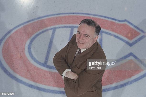 Hockey: Aerial portrait of Montreal Canadiens general manager Sam Pollock on ice at Montreal Forum, Montreal, Canada 3/17/1973