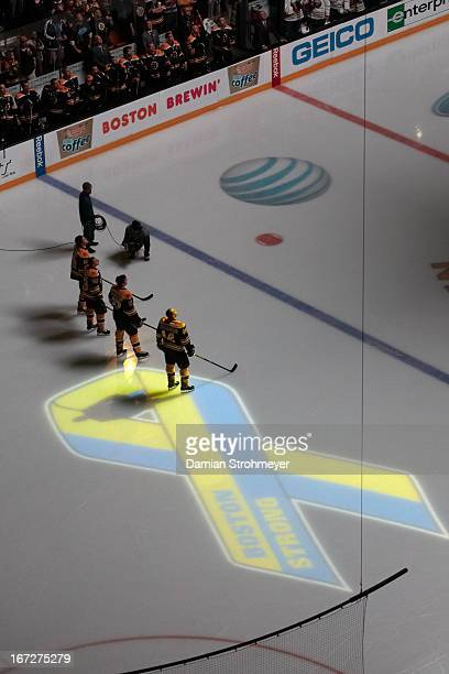 Aerial view of Boston Bruins Dennis Seidenberg Patrice Bergeron Brad Marchand Tyler Seguin on ice before game vs Buffalo Sabres at TD Garden View of...