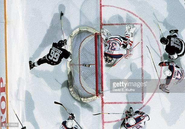 Hockey Aerial view of Los Angeles Kings Wayne Gretzky in action vs Edmonton Oilers goalie Grant Fuhr Edmonton CAN
