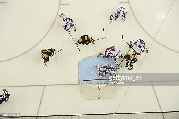 Aerial view of New York Rangers goalie Henrik Lundqvist in action vs Pittsburgh Penguins Patric Hornqvist at Consol Energy Center Pittsburgh PA...