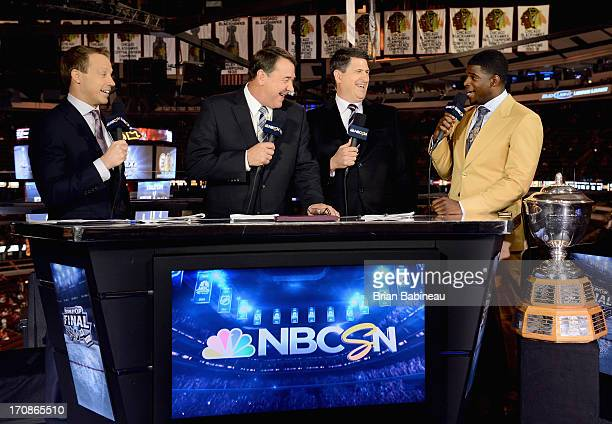 NBC hockey analysts Liam McHugh Mike Milbury and Keith Jones speak to Montreal Canadiens defenseman PK Subban after he was presented with the James...