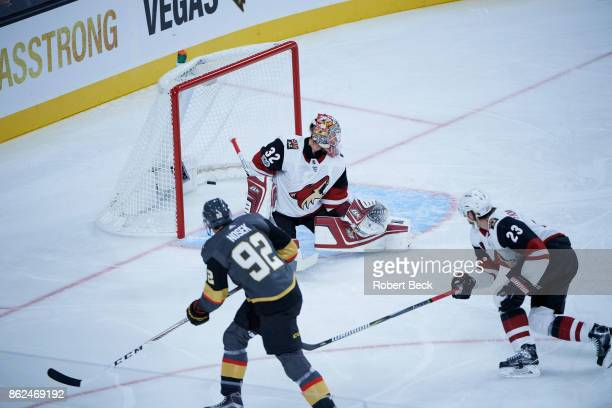 Arizona Coyotes goalie Antti Raanta in action vs Vegas Golden Knights at TMobile Arena Las Vegas NV CREDIT Robert Beck