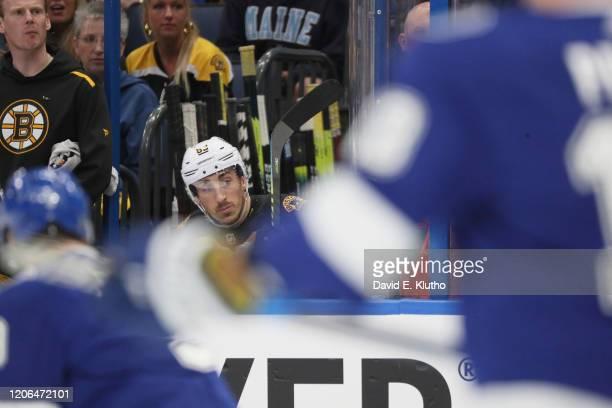 Boston Bruins Patrice Bergeron on bench during game vs Tampa Bay Lightning at Amalie Arena. Tampa, FL 3/3/2020 CREDIT: David E. Klutho