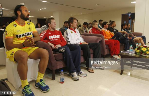 Hockey captains Sardar Singh of India Barry Middleton of England Oliver Korn of Germany Mark Knowles of Australia Robert Vander Horst of the...