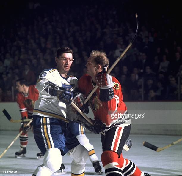 Hockey Chicago Blackhawks Bobby Hull in action vs St Louis Blues Al Arbour Chicago IL 1/15/1968