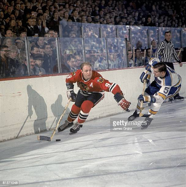 Hockey Chicago Blackhawks Bobby Hull in action vs St Louis Blues Chicago IL 1/15/1968