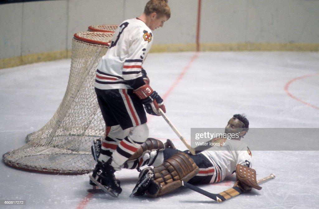 a2f2a5d9ea6 Chicago Blackhawks Keith Magnuson with goalie Tony Esposito down on ...