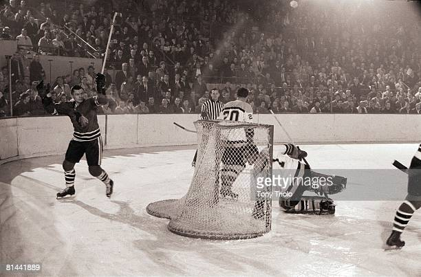 Hockey Chicago Blackhawks Stan Mikita victorious after scoring goal vs Toronto Maple Leafs Chicago IL 1/21/1964