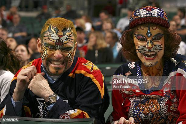 Closeup of Florida Panthers fans wearing paint and sitting in stands during game vs Toronto Maple Leafs Sunrise FL 1/30/2006 CREDIT Bob Rosato