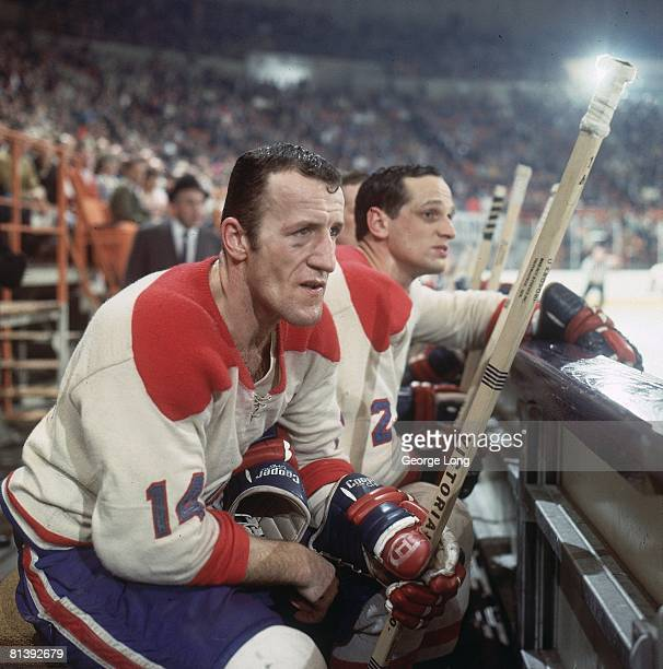 Hockey Closeup of Montreal Canadiens Claude Provost on bench during game vs Los Angeles Kings Inglewood CA 3/6/1968