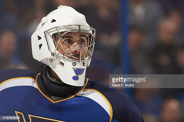 Closeup of St Louis Blues goalie Ryan Miller during game vs Dallas Stars at at Scottrade Center St Louis MO CREDIT David E Klutho