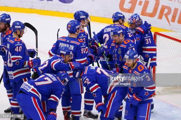 Hockey Club players, Alexander Samonov , Joonas Kemppainen , Igor Ozhiganov and Evgeny Ketov in action during the Kontinental Hockey League,...