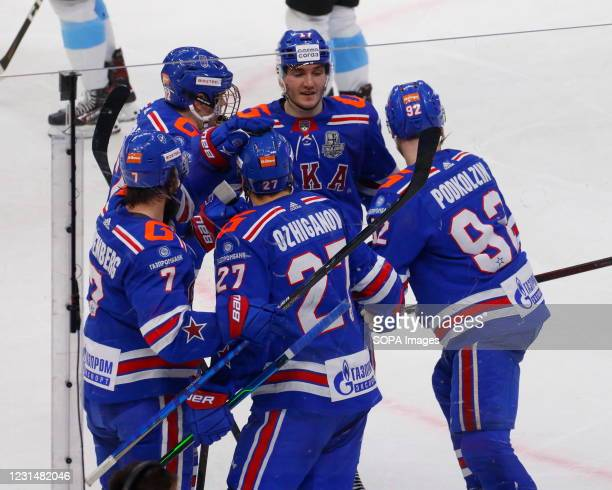 Hockey Club players, Andrey Kuzmenko , Ivan Morozov , Emil Galimov and Vasily Podkolzin in action during the Kontinental Hockey League, playoffs, 1/4...