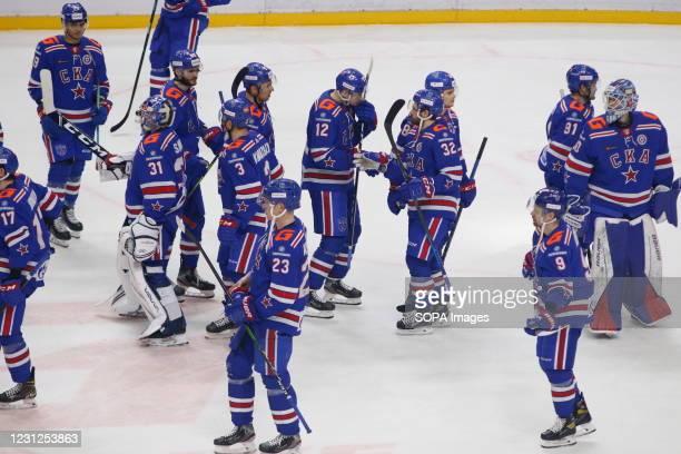 Hockey Club team players during the Kontinental Hockey League 2020/21 Regular Season between SKA Saint Petersburg and Dynamo Moscow at the Ice Sports...