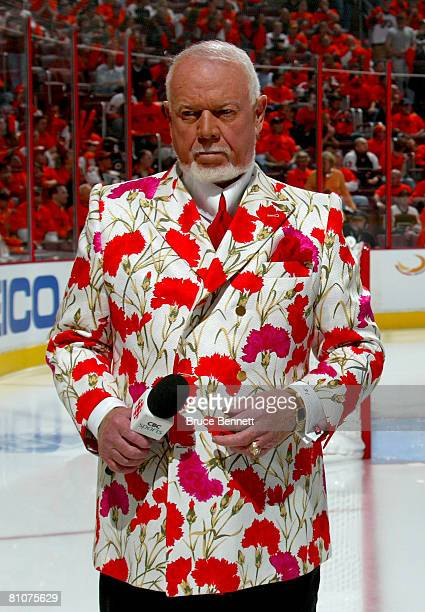 Hockey commentator Don Cherry stands on the ice before the start of game three of the Eastern Conference Finals of the 2008 NHL Stanley Cup Playoffs...