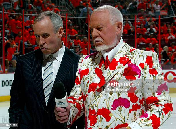 Hockey commentators Ron Maclean and Don Cherry stand on the ice before the start of game three of the Eastern Conference Finals of the 2008 NHL...