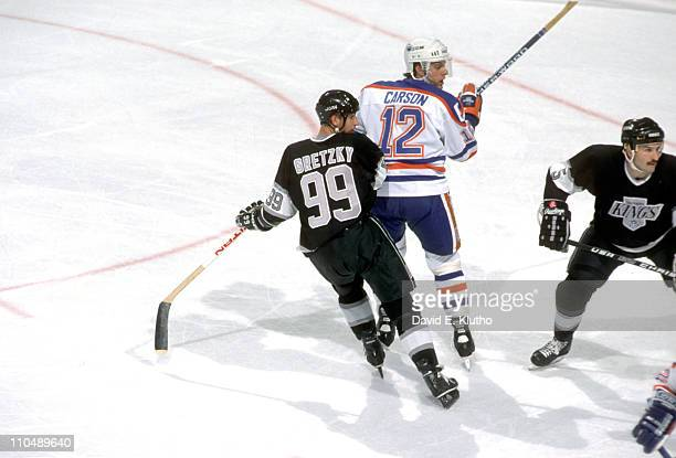 Edmonton Oilers Jimmy Carson in action vs Los Angeles Kings Wayne Gretzky at Northlands ColiseumEdmonton Canada CREDIT David E Klutho