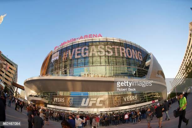 Exrterior view of TMobile Arena that reads #VEGASSTRONG before Vegas Golden Knights vs Arizona Coyotes game Las Vegas NV CREDIT Robert Beck