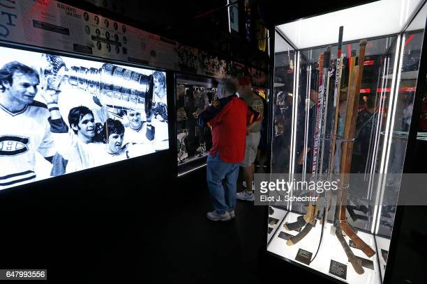 Hockey Fans view the NHL Centennial Museum at the BB&T Center on March 4, 2017 in Sunrise, Florida.