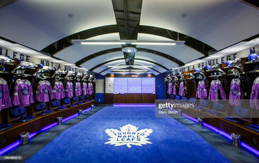 the latest 562e8 c2c83 Hockey Fights Cancer warm up jerseys hang in the Toronto ...