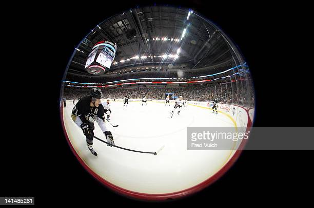 Fisheye view of Pittsburgh Penguins Evgeni Malkin in action vs Anaheim Ducks at Consol Energy Center Pittsburgh PA CREDIT Fred Vuich