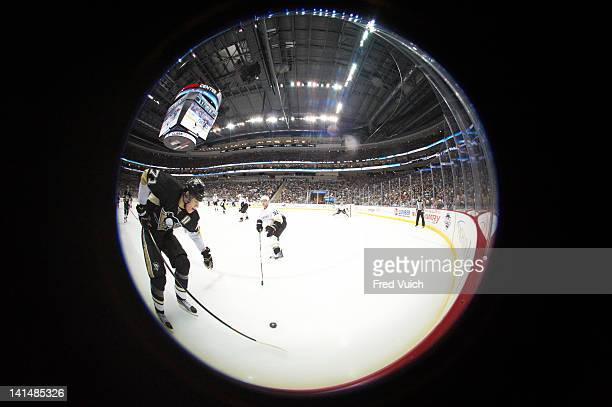 Fisheye view of Pittsburgh Penguins Evgeni Malkin in action vs Anaheim Ducks Toni Lydman at Consol Energy Center Pittsburgh PA CREDIT Fred Vuich
