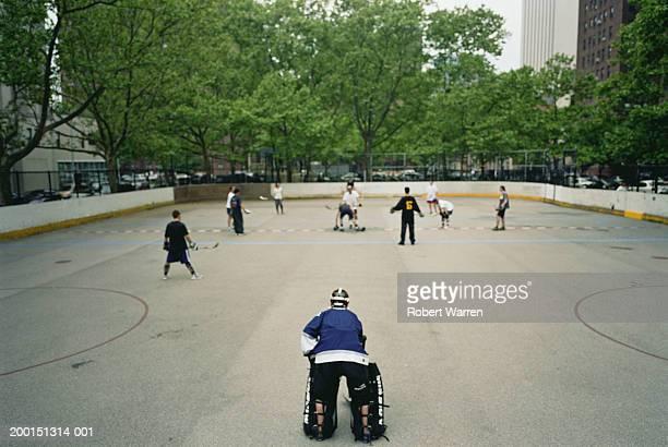 Hockey game in urban park
